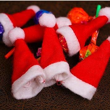 Erduo Mini Adornos navideños Navidad Lollipop Hat Navidad Non-Woven Cute Hat Accesorios navideños para niños Regalo Navidad Decoracion: Amazon.es: Hogar
