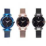 NEO VICTORY Magnet Belt 3-Combo Pack Watch for Girls and Ladies