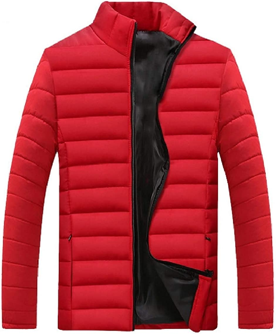 Godeyes Mens Thickening Stand-up Collar Cotton Oversize Solid Anorak Jacket