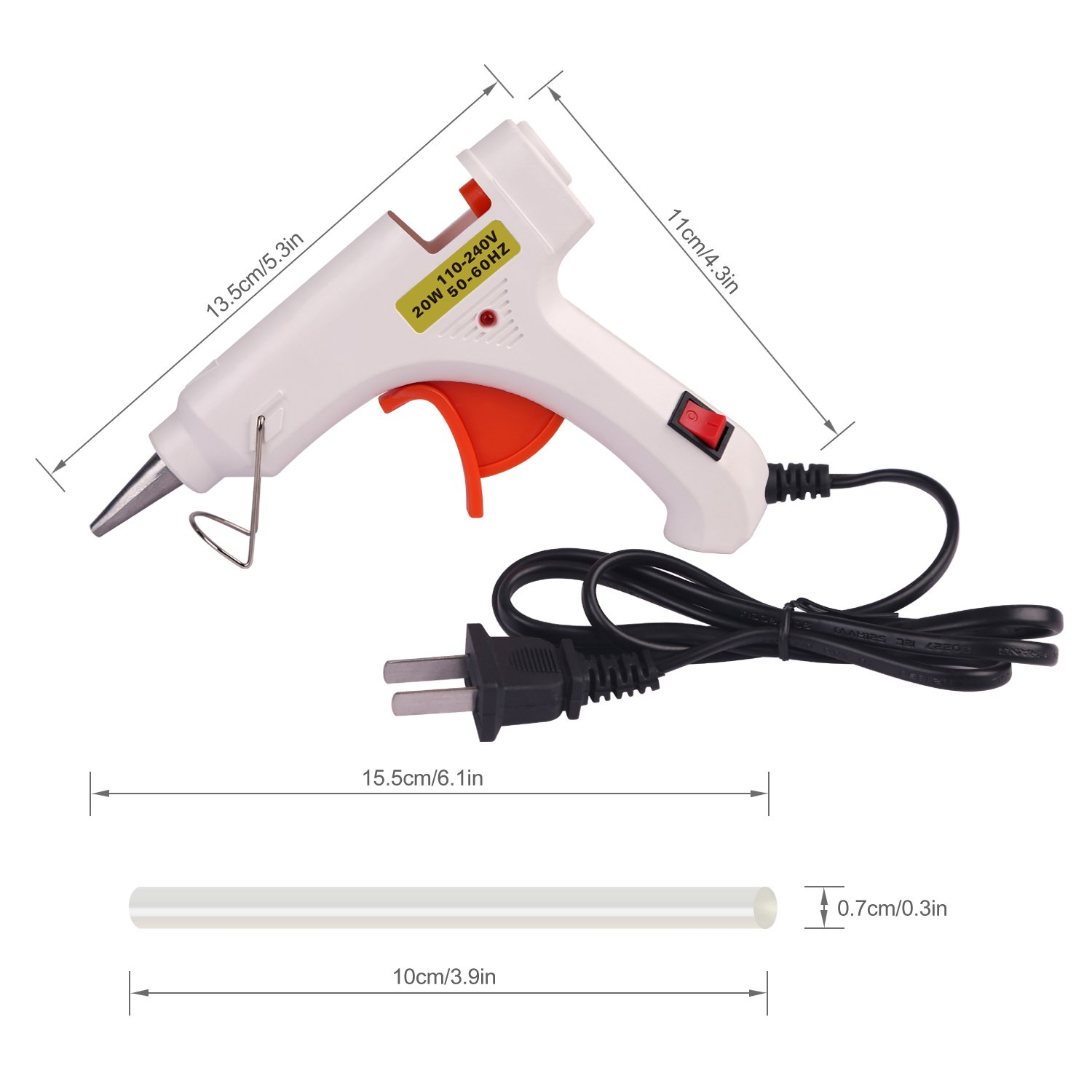 Hot Melt Glue gun with 30 pcs free glue sticks, High temperature melting glue gun with safety stand and built in fuse for over heat protection for small craft projects, home, office and quick repair by FLY5D (Image #3)
