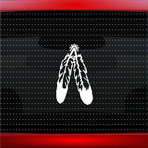 Feather #4 Indian Native American Car Sticker Truck Window Vinyl Decal COLOR: WHITE