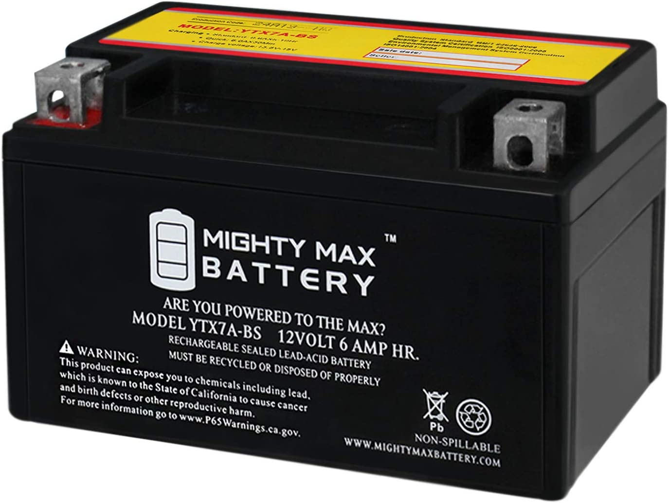 Mighty Max Battery YTX7A-BS Battery Replacement for GTX7A 32X7A 44023 CTX7A Battery Brand Product