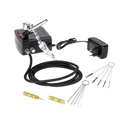 KKmoon 100-250V Aerógrafo Gravedad Alimentar Doble Acción Aire Compresor Equipo para Art Pintura Tatuaje