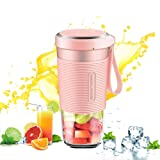 Morphy Richards Portable Blender Fruit Juice Mixer USB Smoothies 300ml Home Outdoor Travel Juicer Rechargeable Mini BPA Free(Pink)