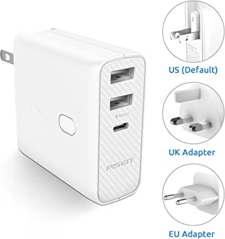 Pisen 2-in-1 Portable Charger and Wall Charger Folding AC Plug