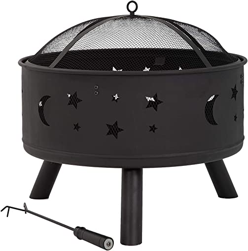 Outdoor Fire Pit Round 24″ FirePit MetalFire Bowl Fireplace Backyard Patio Garden Stove