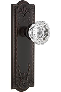 2.75 Unlaquered Brass Nostalgic Warehouse 754996 Prairie Plate with Crystal Victorian Knob Privacy Backset Size