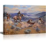 """Wall26 - Loops and Swift Horses Are Surer than Lead by Charles Marion Russell - Canvas Print Wall Art Famous Painting Reproduction - 16"""" x 24"""""""