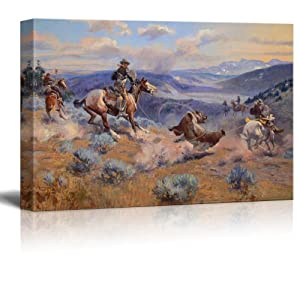 """wall26 Loops and Swift Horses are Surer Than Lead by Charles Marion Russell - Canvas Print Wall Art Famous Painting Reproduction - 16"""" x 24"""""""