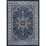 Machine-Made Bronx Navy Ivory Polypropylene Rug (7 10 x 10 5)
