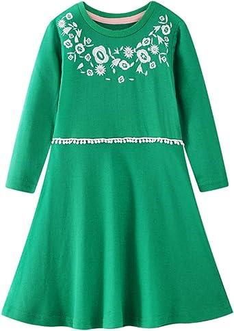 Niña Vestido Casual de Algodón Chica Elegante Vestido Corto Verde ...