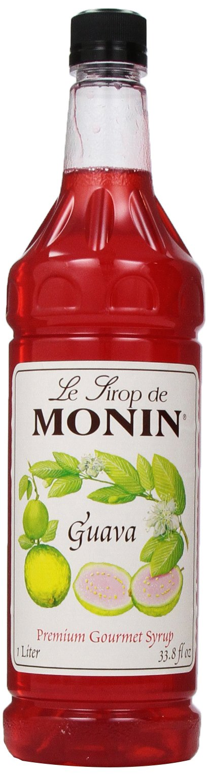 Monin Flavored Syrup, Guava, 33.8-Ounce Plastic Bottles (Pack of 4)