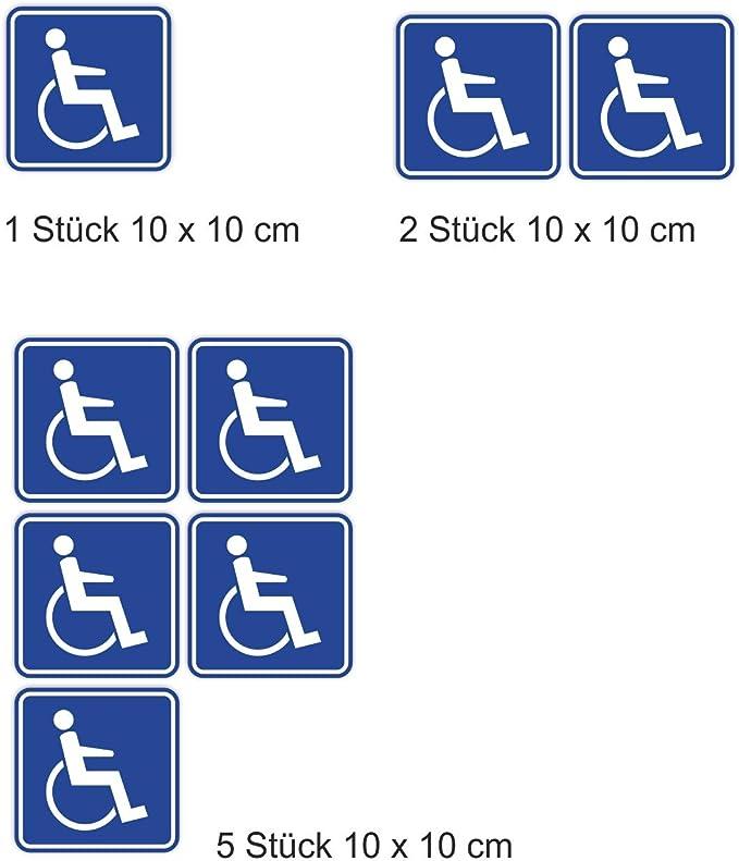 easydruck24de Aufkleber Rollstuhlfahrer UV- und witterungsbest/ändig innen Fahrzeuge Auto iSecur/® Gehbehinderung kfz/_395 innenklebend f/ür Fensterscheiben /Ø 15cm