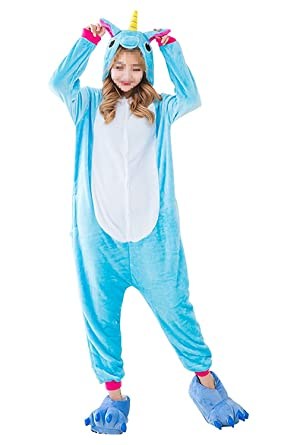 mcdslrgo adults casual flannel hooded pajamas animal onesies sleepwear halloween costume cosplay blue unicorn