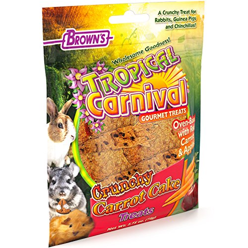 F.M. Brown's Tropical Carnival Crunchy Carrot Cake Foraging Treat for Rabbits, Guinea Pigs, Chinchillas, Hamsters, Gerbils, Mice and Rats, Cage Clip Included, 2.75oz ()