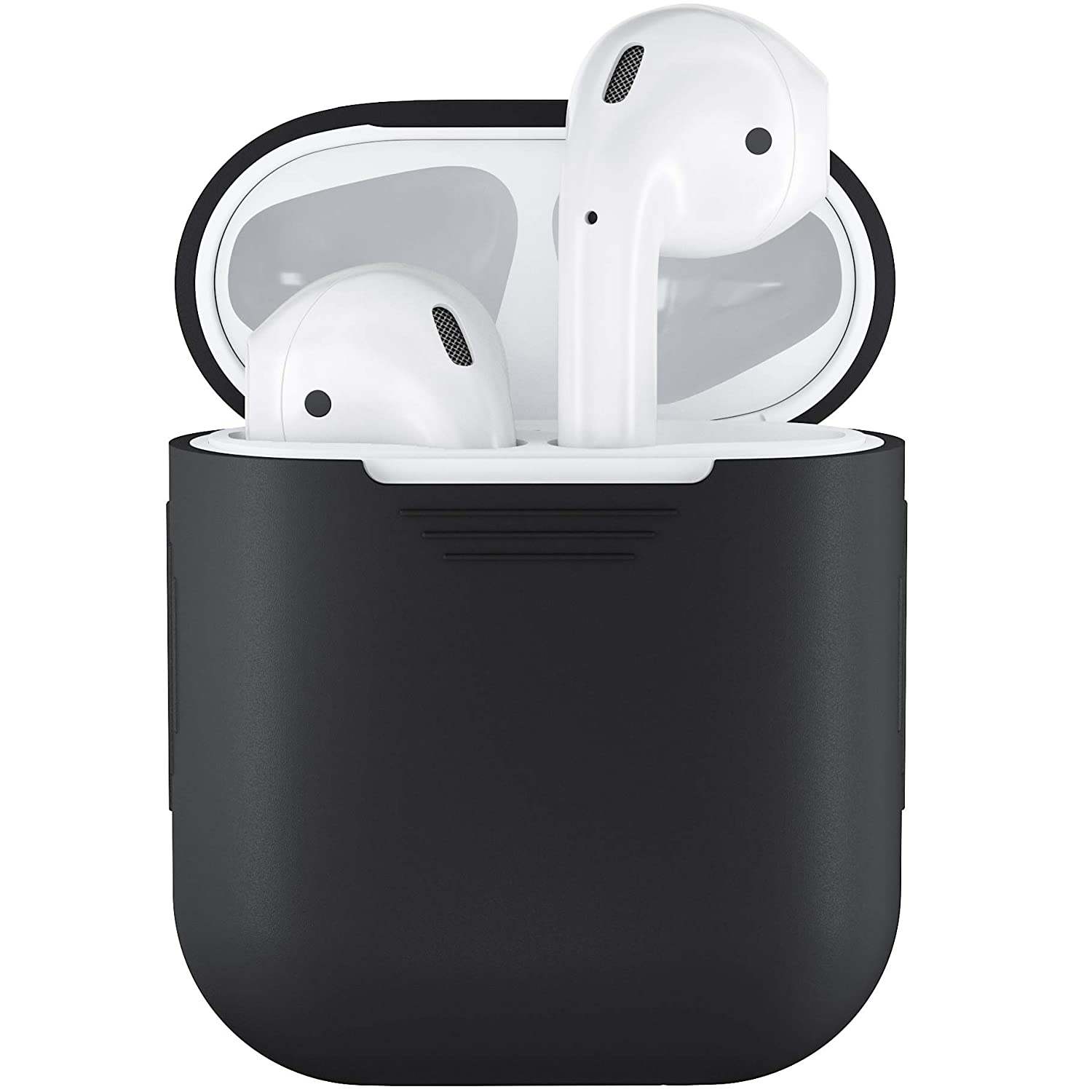 detailed look 727e3 477b0 PodSkinz AirPods Case Protective Silicone Cover and Skin Compatible with  Apple Airpods 1 & AirPods 2 [Front LED Not Visible] (Black)