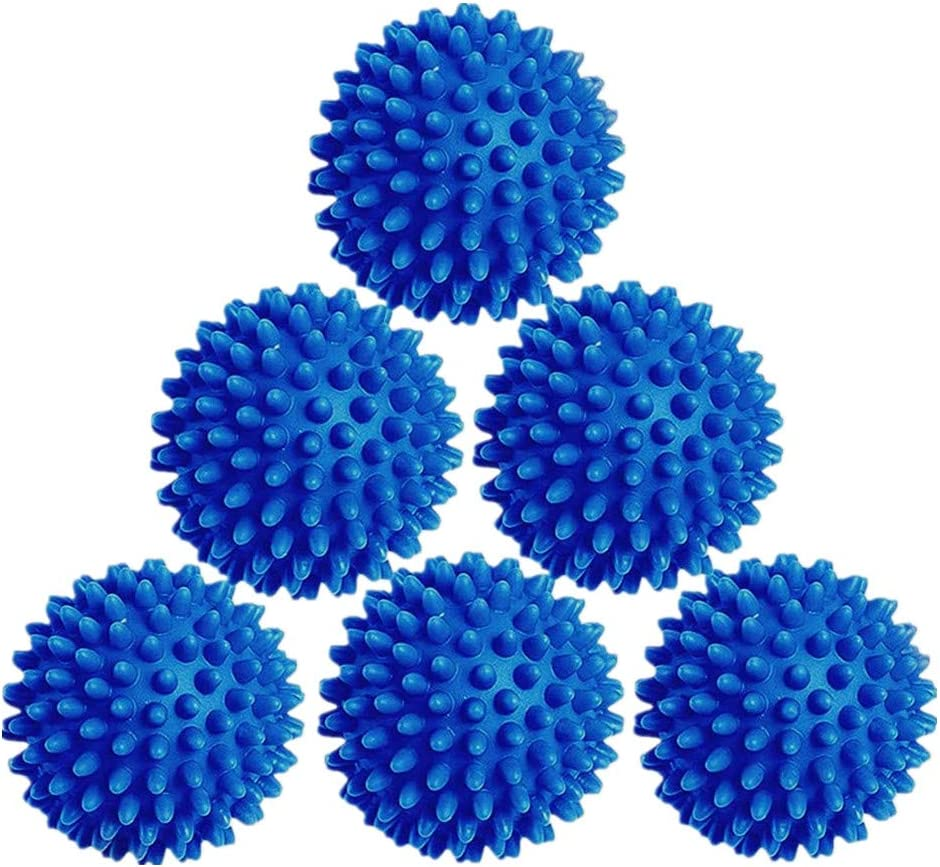 Laundry Dryer Balls - 6 Pack Reusable Fabric Softener Alternative (Blue)