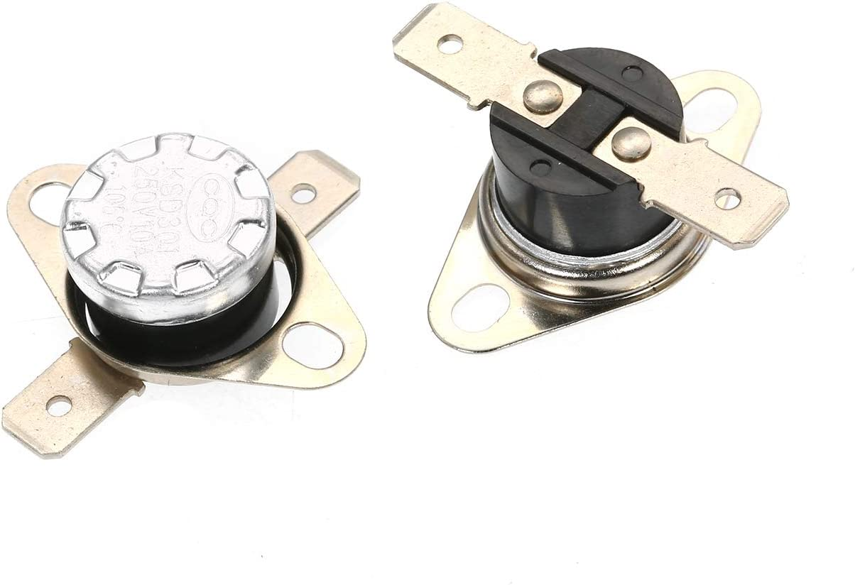 Interruptor de control t/érmico,Baugger 5pcs KSD301 Interruptor de temperatura del termostato 250V 10A NO Interruptor de control t/érmico normalmente abierto