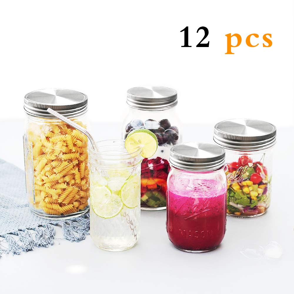 Wide Mouth Mason Jar Lids, GOLF 12Pcs Stainless Steel Mason Jar Lids with Silicone Seals for Wide Mouth Size Jars, Polished Surface, Resistant Storage,Reusable and Leak Proof