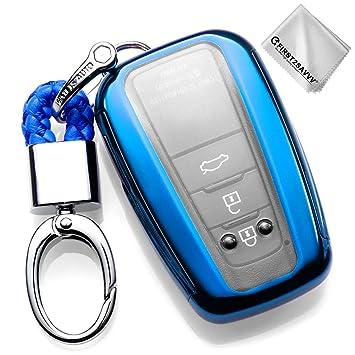 Azul Funda para Llave Smart Key para Coche 2018 2019 Toyota Camry Corolla Avalon Prius C-HR RAV4 3 4 Buttons Carcasa Protectora [Suave] de [Silicona] ...