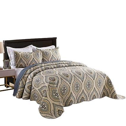 lightweight king bedspread marcielo piece lightweight quilt king printed quilt set bedding throw blanket coverlet amazoncom
