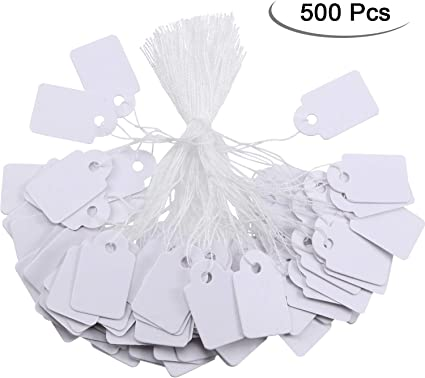 100 Blank White Merchandise Price Tags with Strings Size #6 Retail Strung Label
