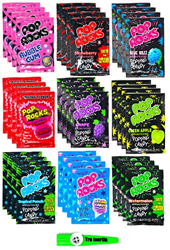 Pop Rocks Crackling Candy Variety Pack of 36 - Classic Popping Candy - Nine Different Flavors Bulk Pop Rocks Pack with Tru Inertia Kazoo]()