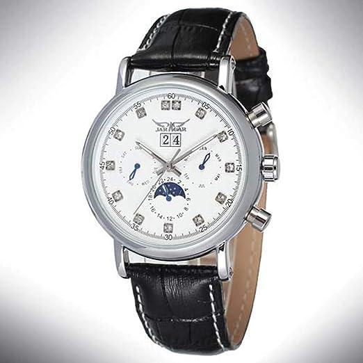 Hermosos Relojes mecánicos Jargar / 348 Diamante Gran Dial Correa de Reloj mecanico automatico con Calendario Mesa: Amazon.es: Relojes