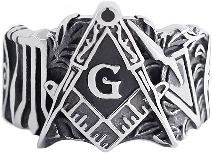 Fashion Gift Men Masonic Stainless Steel Ring Vintage Freemason Jewelry For Mens