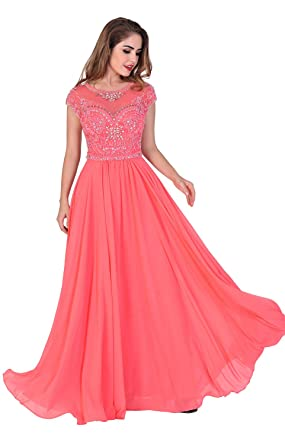 Chic Belle Women Chiffon Coral Beaded Long Evening Gown Prom Dress 2016(0)