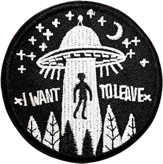 huixun I Want a dejar UFO Alien insignias etiqueta de parche bordado apliques de coser parches ropa ropa de pegatinas 5 piezas: Amazon.es: Hogar