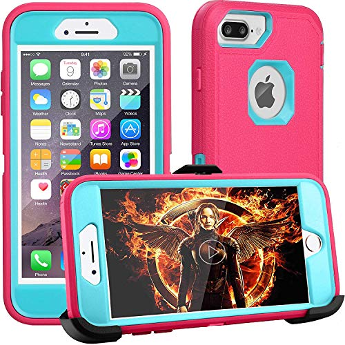 iPhone 8 Plus Case,iPhone 7 Plus Case,iPhone 6s Plus Case,FOGEEK Belt-Clip Protective Heavy Duty Kickstand [Shockproof] Cover Compatible for iPhone 8/7/6/6s Plus(Rose and Blue)