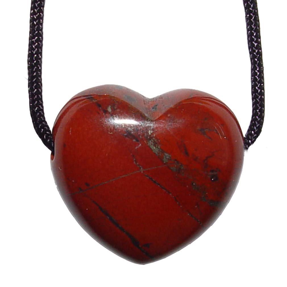 1 Stück Jaspis rot Herz Anhänger 25 mm großes Edelsteinherz ca. 2,5 mm Bohrung und Band.(4753) Janni-Shop®