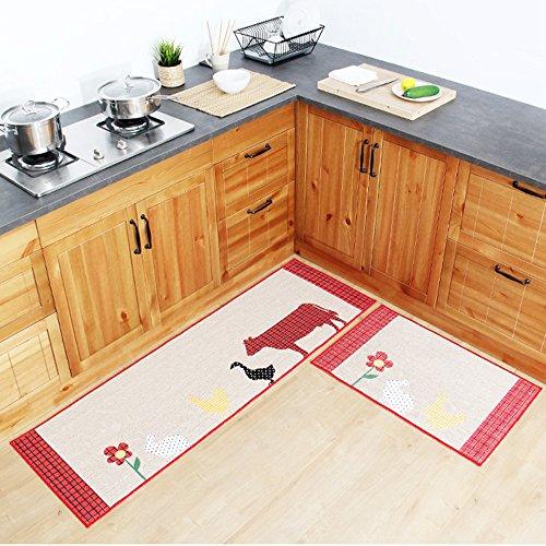 Ustide Countryside Animals Kitchen Rug Set,kitchen Floor Rug Washable Floor Runner Non-slip Washable Bath Mats,water Absorption Toilet Rugs ,Multi