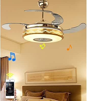 Retractable Led Ceiling Fan Light With Music Speaker