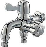 水栓 2口 蛇口 横水栓 ワンタッチ 一文字 継ぎ手 洗濯機 ホース の 付け替え 不要 DIY