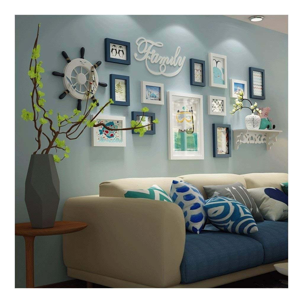 LIFEIYAN Photo Wall Hanging Wall Picture Frame Solid Wood Photo Wall with Clock Large Size Living Room, 17768CM (Color : A) by LIFEIYAN