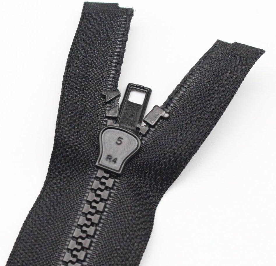 YaHoGa 2PCS #5 25 Inch Separating Jacket Zippers for Sewing Coats Jacket Zipper Black Molded Plastic Zippers Bulk 25 2pc