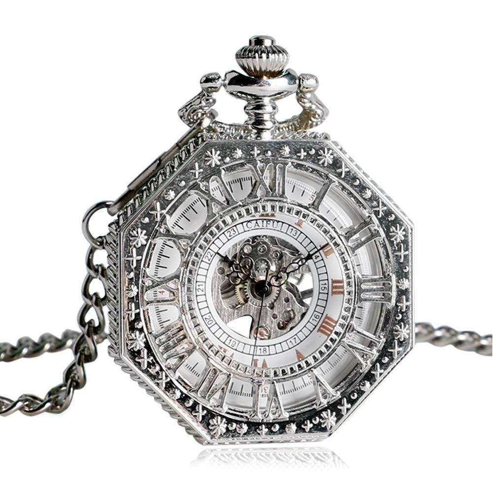 Vintage Pocket Watch, Hand Winding Mechanical Pocket Watch for Men, Silver Octagon Shape Skeleton Pocket Watch Gift