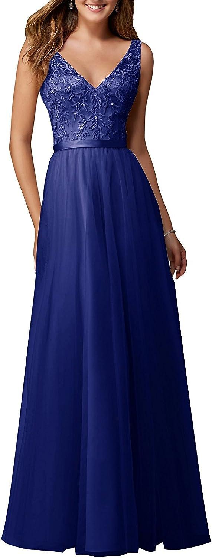 BetterGirl Damen V-Ausschnitt Abendkleider Spitze Chiffon Ballkleid langes Brautjunfer Kleid Abschlussball