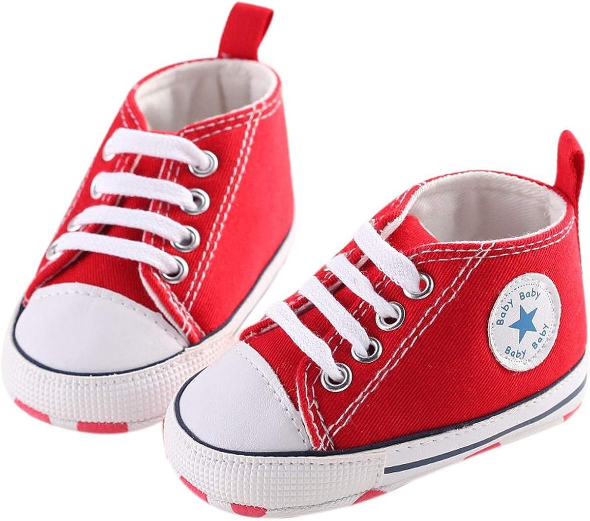 Chennie 0~12M S/äuglingsneugeborenes Baby-M/ädchen-Segeltuch-Stern-hohe Spitzen-Turnschuh-Denim-Schuhe
