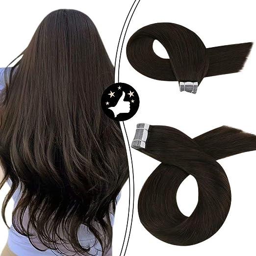 Image ofMoresoo 24Pulgadas/60cm Brasileño Extensiones Naturales de Cabello #2 Marrón Oscuro Seamless Tape in Remy Hair Extensions Extensiones Cabello Humano 50g/20pcs