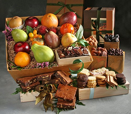 Imperial Extra Large Fruit, Sweets, and Baked Goods Gift with 12 Pieces Seasonal Fresh Fruit, Assortment Pack of 5 Dried fruit & Nuts, Tea Cookies, Walnut Brownies, and Chocolate Bonbons by Manhattan Fruitier