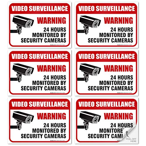 """(6 Pack) 24 Hour Video Surveillance Sign, 2½x3½"""" 4 Mil Sleek Vinyl Decal Stickers Weather Resistant Long Lasting UV Protected and Waterproof Made in USA by SIGO SIGNS from Sigo Signs"""