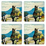 MSD Square Coasters Non-Slip Natural Rubber Desk Coasters design 20190565 artistic mediterranean village original painting oil on wood