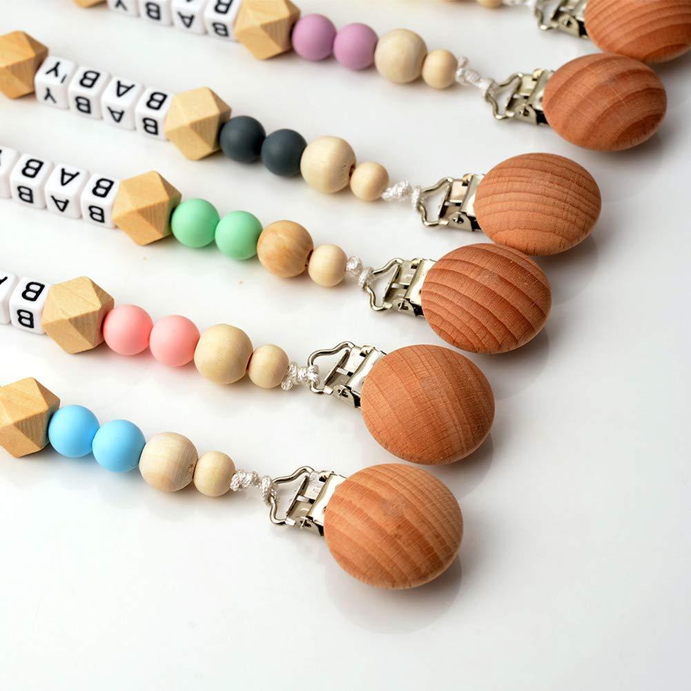 Accroche T/étine en Bois Attache Sucettes Pacifier Chain Clip Couronne D/écoration pour B/éb/é Anneau de Dentition Blanc