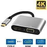 RayCue USB C HDMI VGA 変換 アダプタ USB Type C HDMI VGA 同時表示可 4K*2K @30Hz 高解像度(Thunderbolt 3と互換性) Macbook 2017/2016/2015、Samsung Galaxy S8/S8+、Lenovo Yoga、Chromebook Pixelなど対応(ブラック)