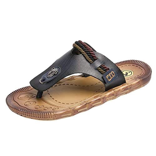 b7e3808fa Boomboom Men Shoes Mens Leather Sandals Bottle Opener Flip Flops for Men  with Soft Cushion Footbed Black  Buy Online at Low Prices in India -  Amazon.in