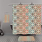Uhoo Bathroom Suits & Shower Curtains Floor Mats And Bath TowelsAbstract Vector Seamless Islamic Pattern with Ethnic Motifs Decorations for Home Print Brown and BeigeFor Bathroom