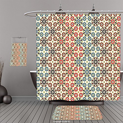Uhoo Bathroom Suits & Shower Curtains Floor Mats And Bath TowelsAbstract Vector Seamless Islamic Pattern with Ethnic Motifs Decorations for Home Print Brown and BeigeFor Bathroom by UHOO